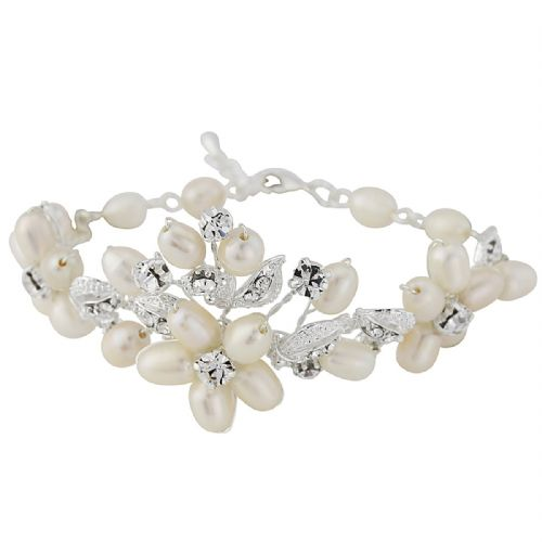 Emily Pearl and Crystal Bridal Bracelet, CZ crystal wedding bracelet